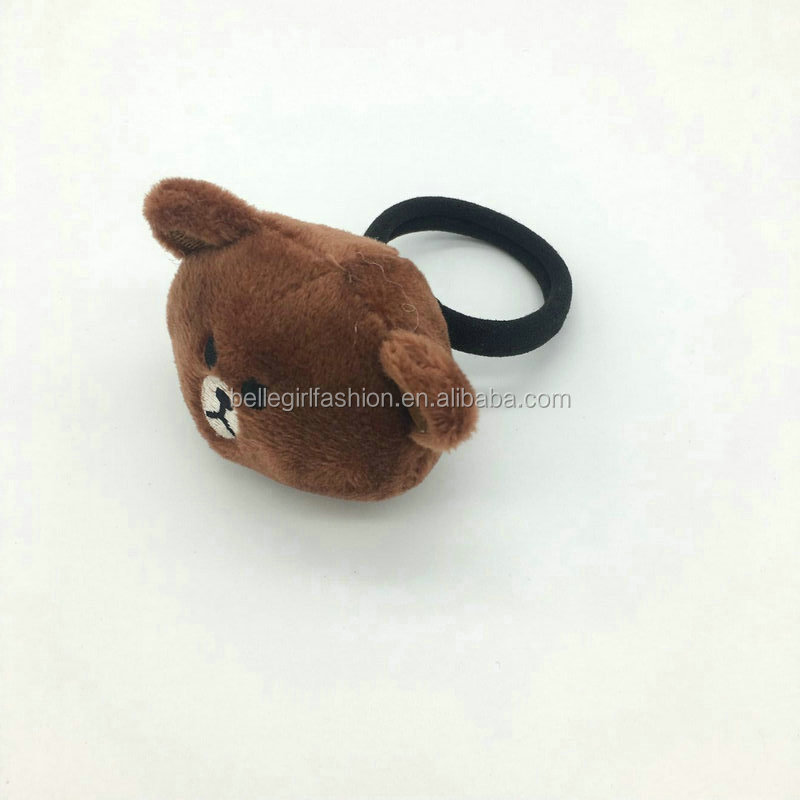 Wholesale fashionable brown bear fancy hair elastic bands for girls