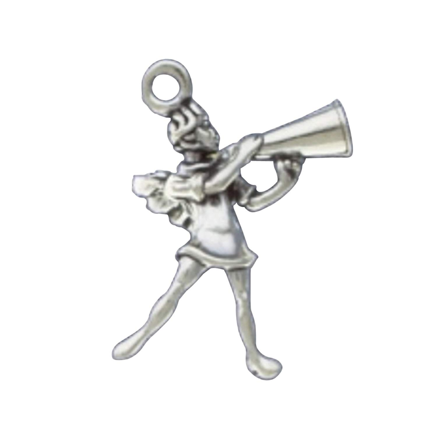 Sterling Silver 3D Standing Winged Guardian Angel Football Cheerleader Charm Bead For Bead Bracelet