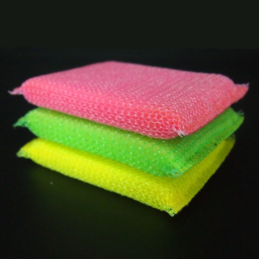 2016 New Kitchen Cleaning Sponges Pink Green Yellow Nylon Scouring Pad With Mesh