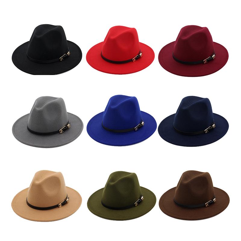 in stock wholesale classic woolen fedora hat mix color big brim woolen  winter men fake german wool felt hat 095756bce17