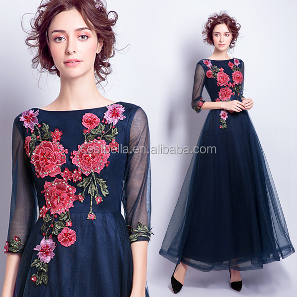 Pretty Evening Dresses Dark Blue Long Sleeve Muslim Women Long Formal Party Wear New Arrival Online Shopping Evening Dresses