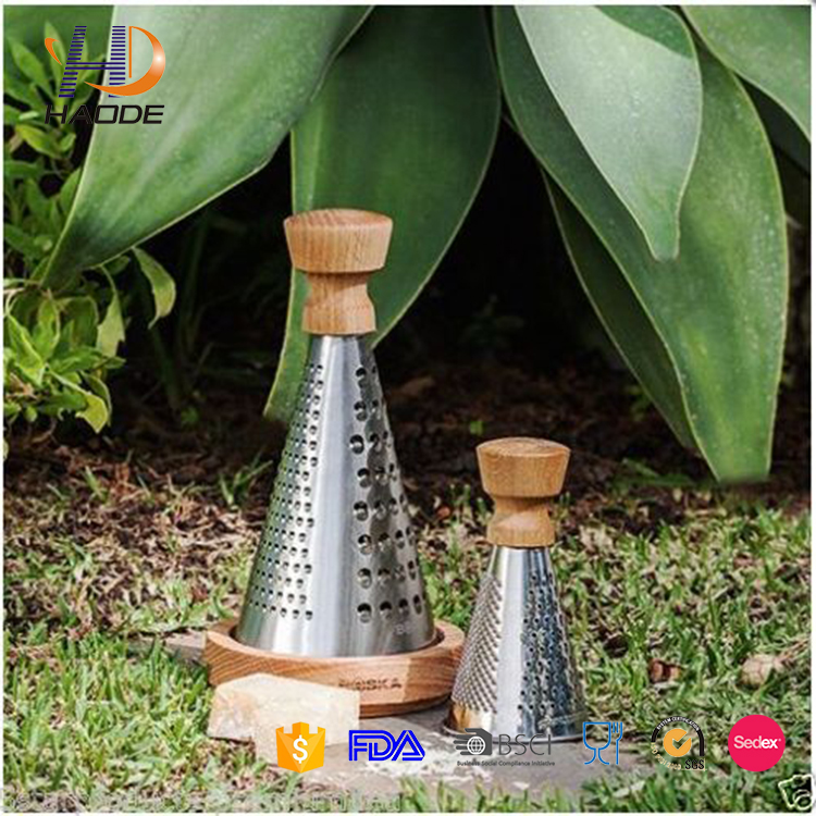 high quality stainless steel mini vegetable cheese grater with wooded handle