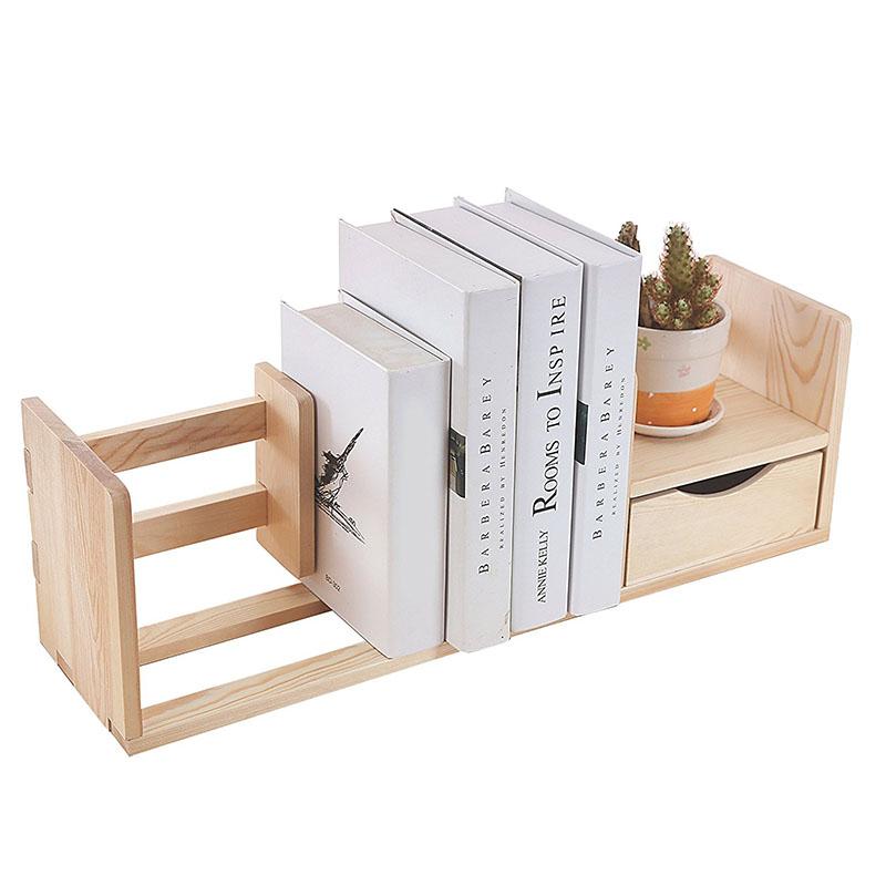 Natural Unfinished Wood Desktop Bookshelf Organizer Caddy Storage Shelf Rack W Drawer