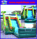 XIXI inflatable palm water slide with pool,tropical inflatable wet/dry slide