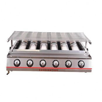 Outdoor 6 Burners Commercial Electric Bbq Grill Rotating Barbecue Yakitori Table Top Bbq Grill