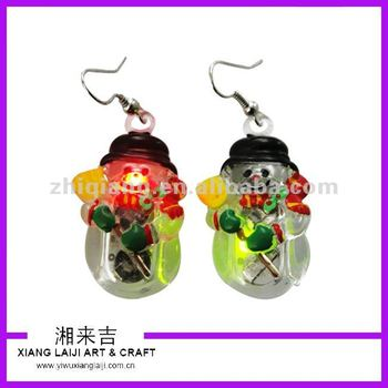 Christmas Snowman Led Flashing Earrings