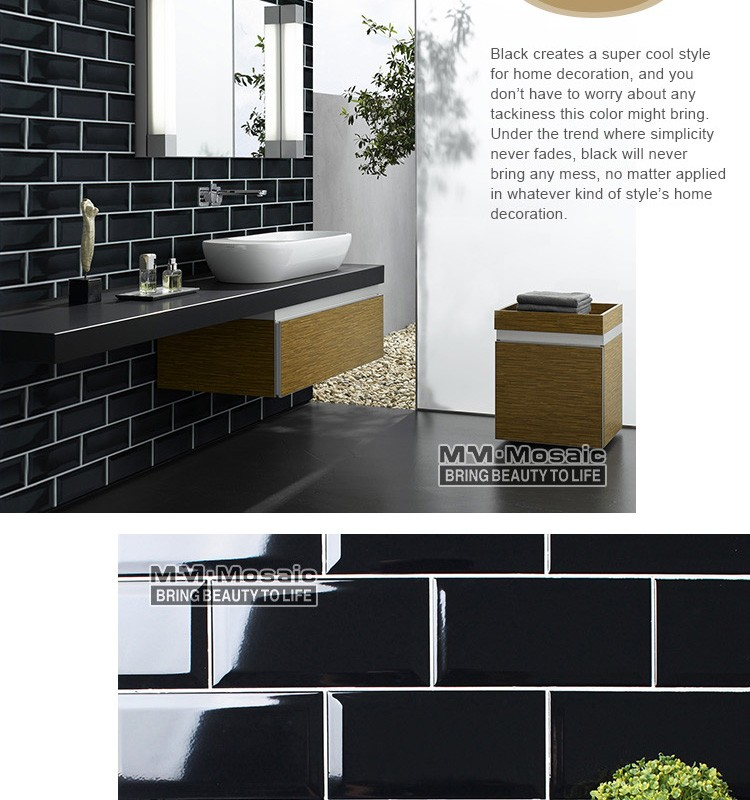 In Stock 4 X8 Black Beveled Subway Ceramic Wall Tiles For Kitchen