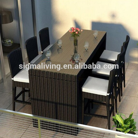 Bar height patio furniture balcony furniture wicker bar set
