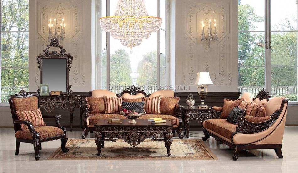European Style Luxurious Wooden Hand Carved Sofa Set French Living Room Furniture