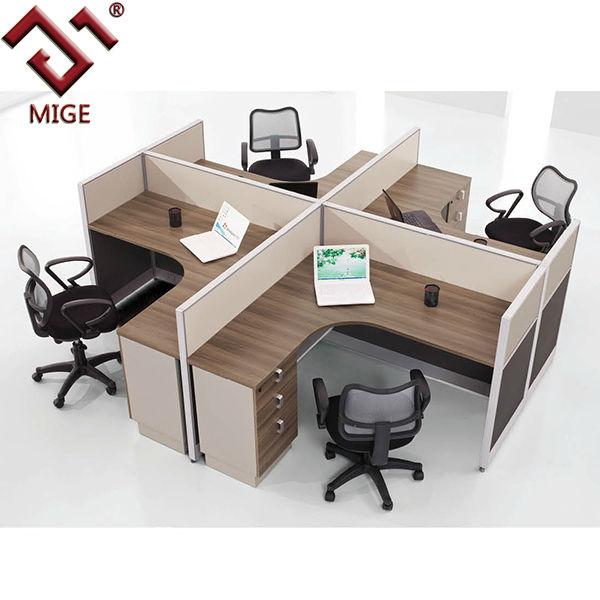 Teak Color L Shape Office Quad Parion