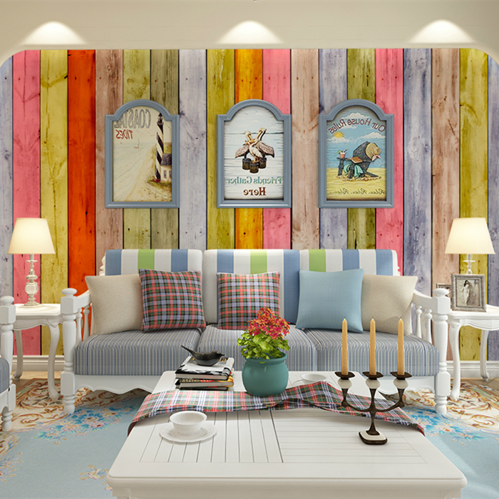 Background Colorful Room: Custom Made Colorful Wood Grain Photo Wallpaper 3d Wall