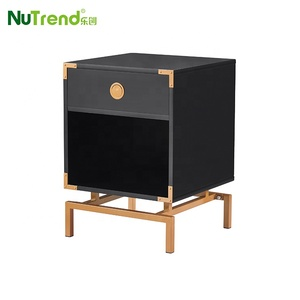 Latest unique design wooden bed side table gold