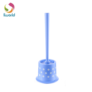 Welcome Purple Spots Style Toilet Brush And Holder, Plastic Toilet Brush Set