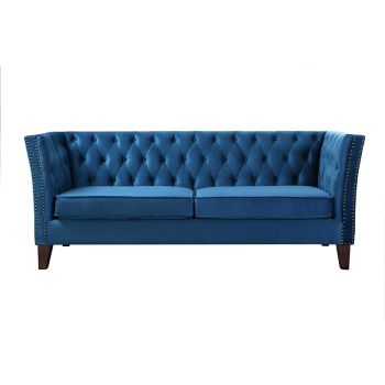 Factory Design Modern Classic Velvet Fabric Button Tufted Hotel Chesterfield Sofa Set