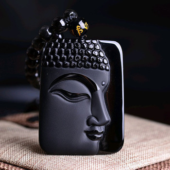Natural Black Obsidian Pendant obsidian Vintage Necklace Black Buddha Head Pendant For women&men Jewelry