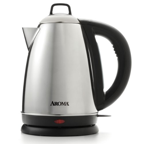 Aroma Housewares Hot H20 X-Press 1.5 Liter (6-Cup) Cordless Electric Water Kettle, Stainless Steel