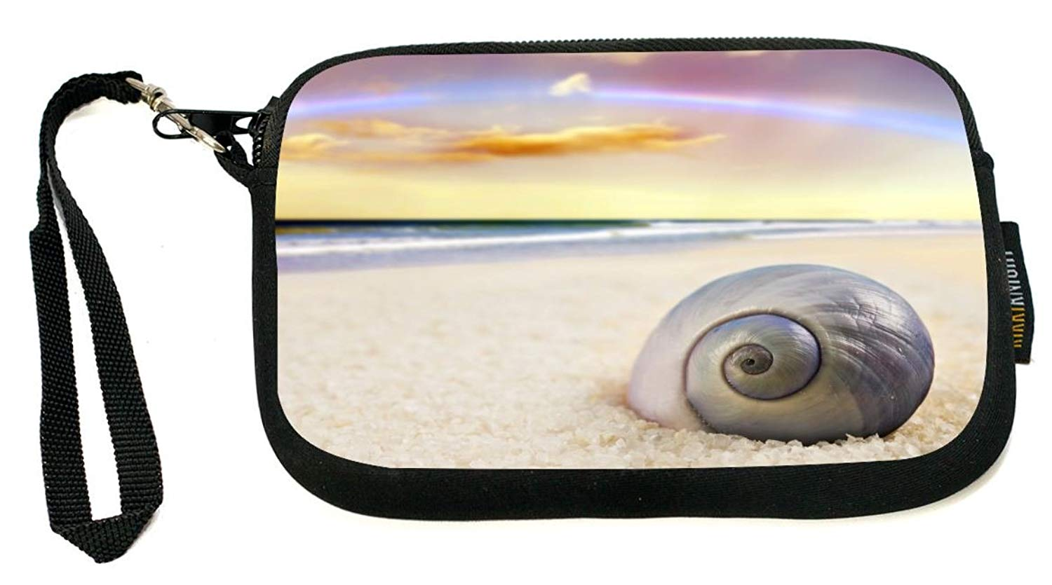 Rikki Knight Surf on Beach - Neoprene Clutch Wristlet with Safety Closure - Ideal case for Camera, Cell Phone, Gameboy, Passport, Cosmetics case, Universal Cell Phone Case etc..