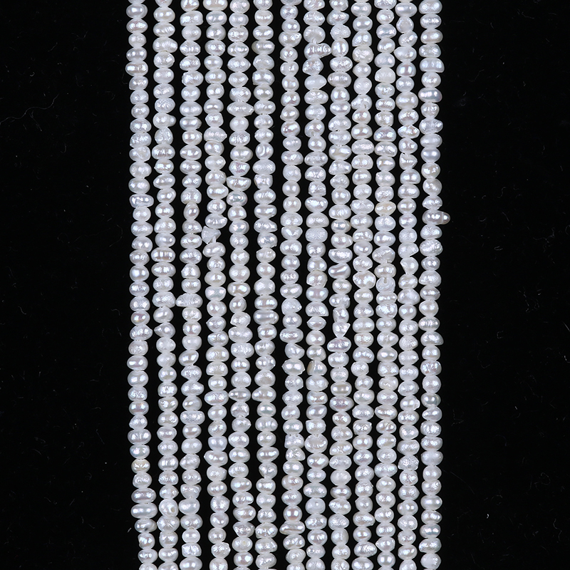 small size 1.5-1.8mm natural freshwater pearls potato shape pearl strand