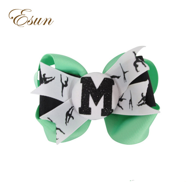 Ribbon Leotard Colors Gymnastics Hair Bow with Glitter Initial