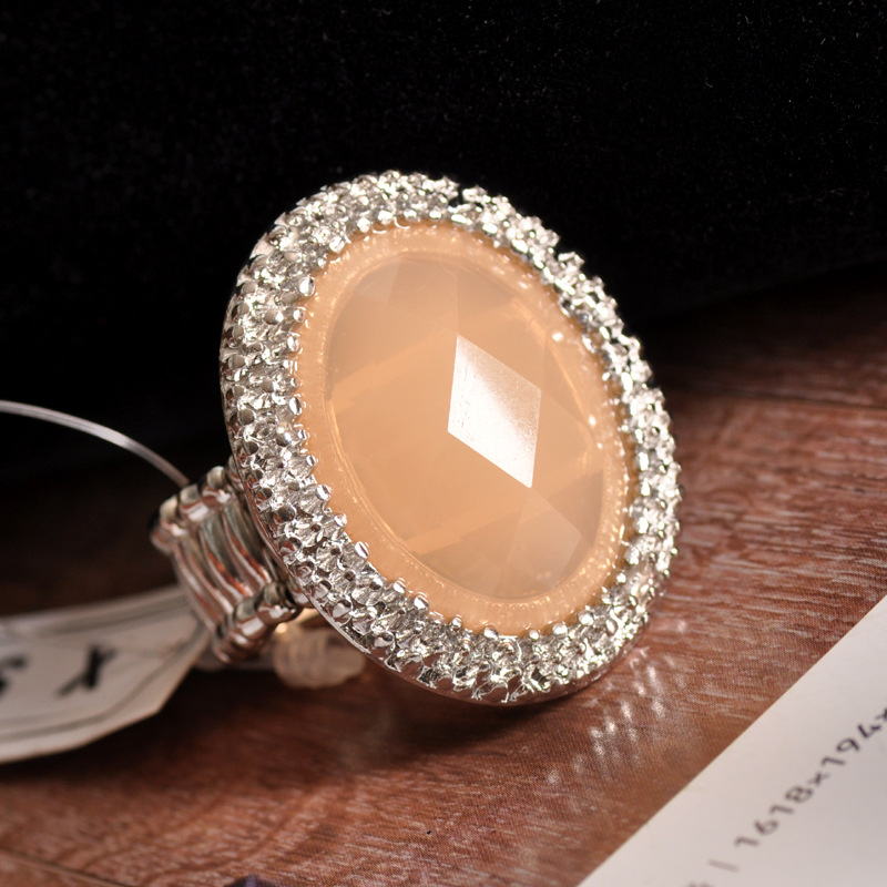 Fashion Simple Ellipse Gemstone Big Ring For Women Jewelry
