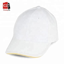 Promotional 6 panel sandwich brim pure blank plain cheap white caps