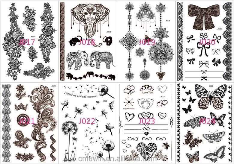 Black Jewelry Bracelet Body Henna Tattoo Stencils Girl Tattoo