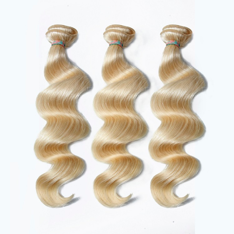 High quality 100% brazilian human hair sew in weave, blonde curly hair extensions