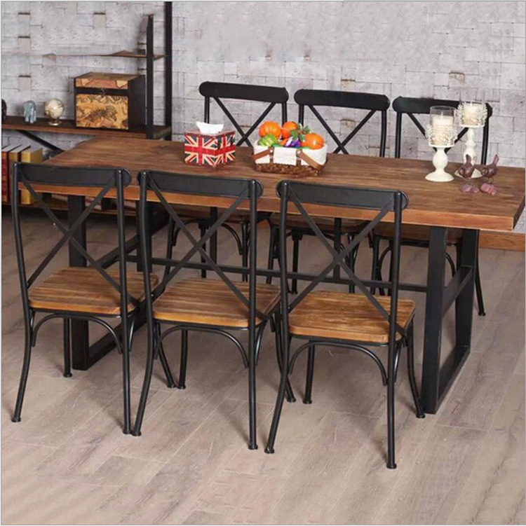 Cheap American Country Retro Wood Furniture, Wrought Iron
