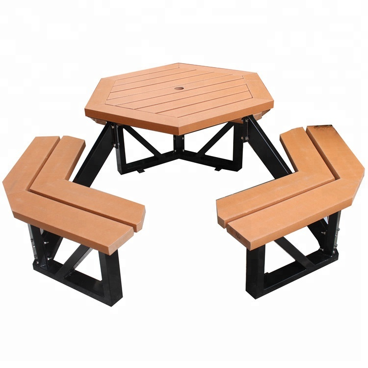 Gerecycled hout en ijzer hexagon terrasmeubilair outdoor picknick tafel en banken set