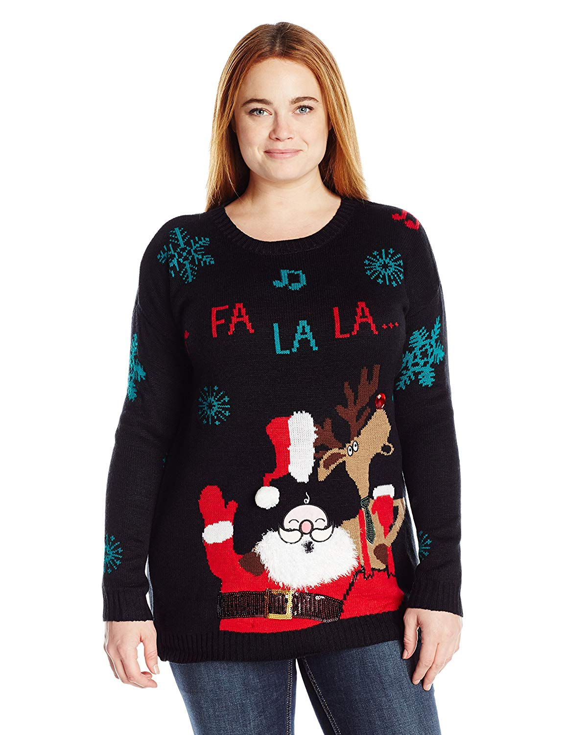 2be9b248f6e1 Get Quotations · Allison Brittney Women's Plus Size Santa and Reindeer  Singing Pullover Ugly Christmas Sweater