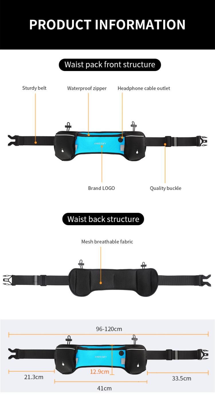 Unique dual water bottle holder reflective waist bag sports running belt waist pack bag