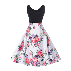 2017 Fashion High Waist Printed Rose Pattern Sleeveless Girl Fancy Dress