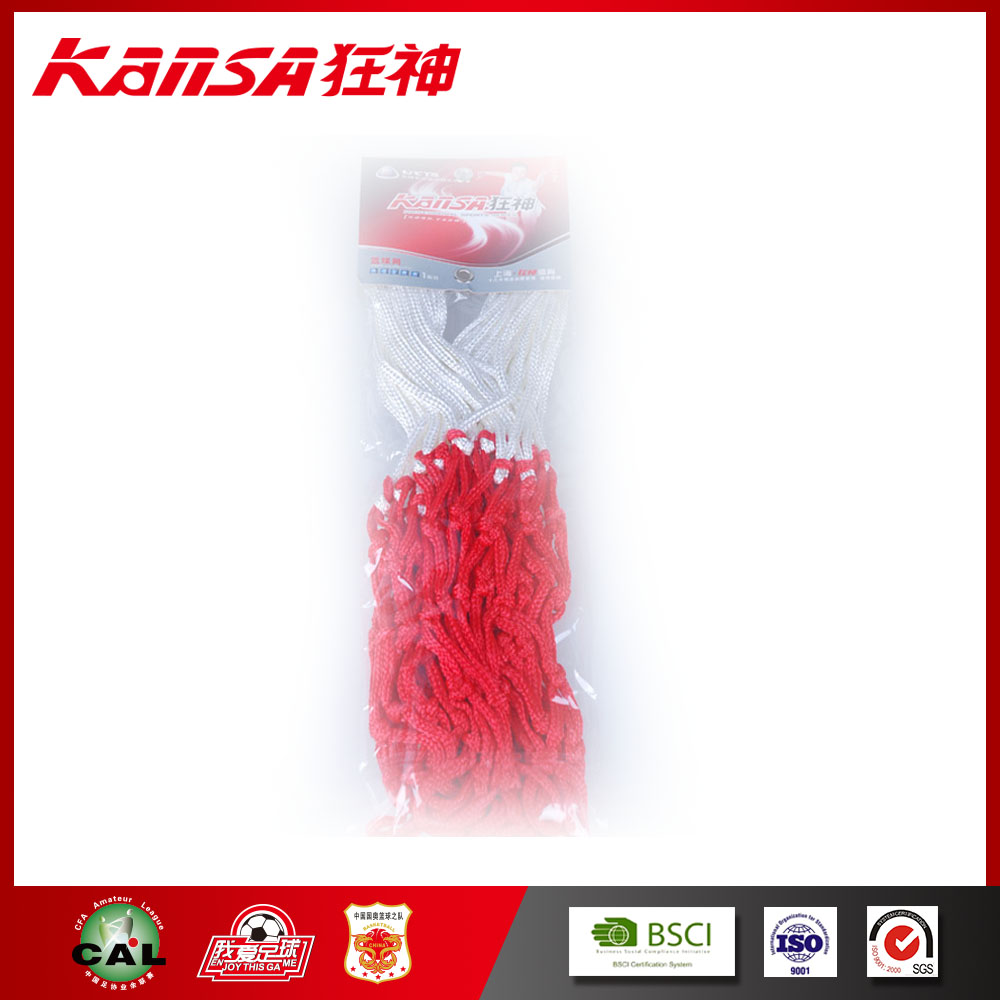 Kansa-502 Red+White Polyester Durable Logo Printing Basketball Net