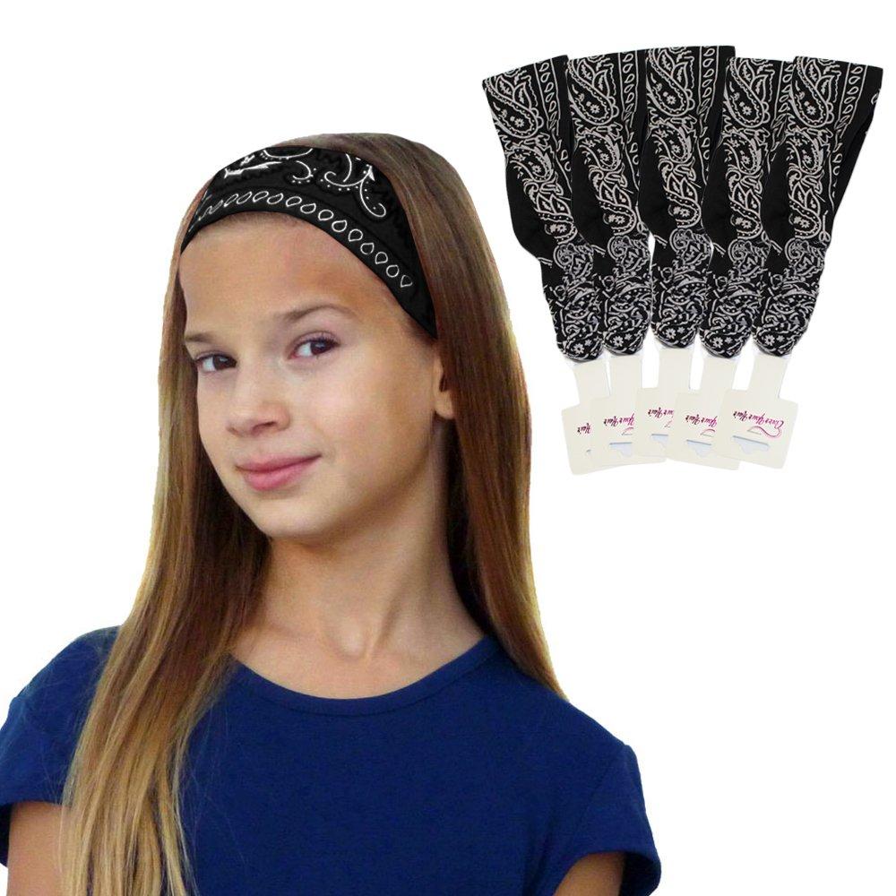 51130d9bfe88 Get Quotations · 5 Paisley Bandana Headbands w  Elastic- Yoga Headwrap  Hairband By CoverYourHair