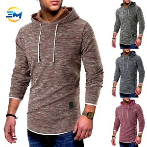 2019Fashion style new product simple design solid color blank hemp cotton pullover hoodie for online sale