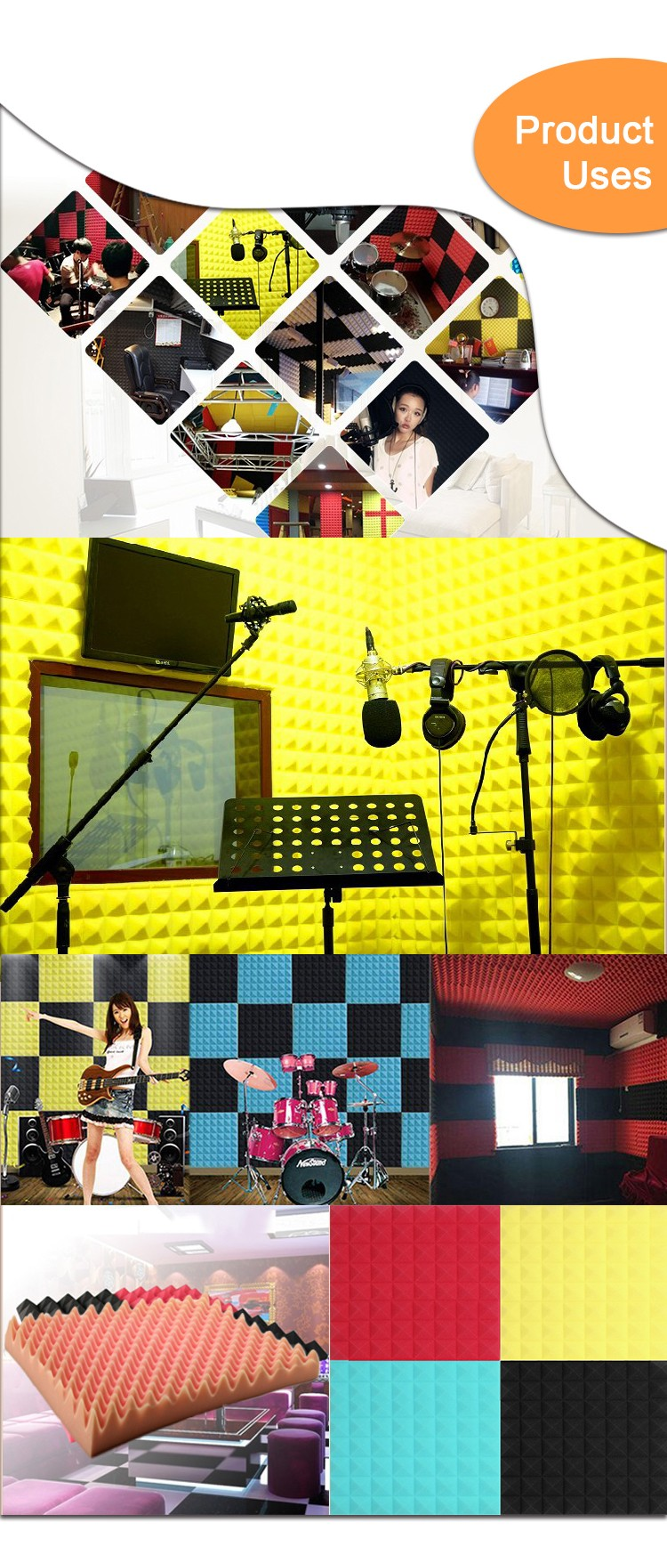Roll Sound Proofing Insulation Absorbing Sponge Wall Wedges Studio ...