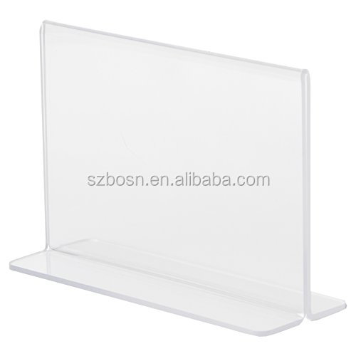 T shape clear double side acrylic photo frame plexiglass souvenir picture stand