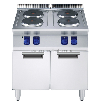 Sopas 700 Series Stainless Steel Industrial 4 Burner Electric Stove With Cabinet