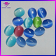 Colors Fashion Synthetic Gems Ring Flat Back Oval Cat Eyes Stone