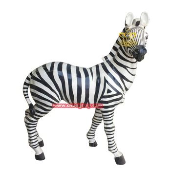 Theme park ornament fiberglass sculpture zebra statue
