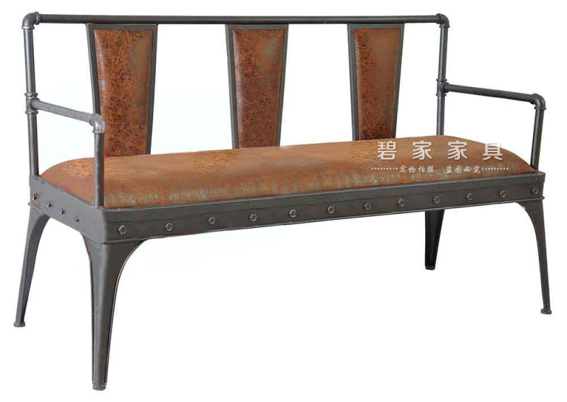 LOFT American country wrought iron double leather sofa minimalist modern European-style bar bench retro sofa sofa chair
