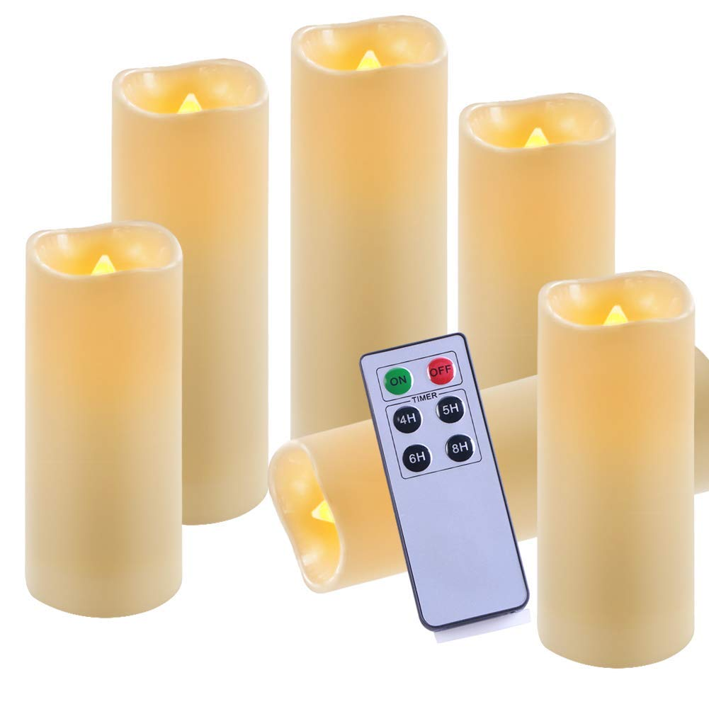 """Homemory Pack of 6 Waterproof Flameless Candles Set with Remote & Timer LED Flickering Pillar Candle (H 6"""" 6"""" 6"""" 7"""" 7"""" 7"""" x D 2.2"""") Amber Yellow Outdoor Battery Operated Candles"""
