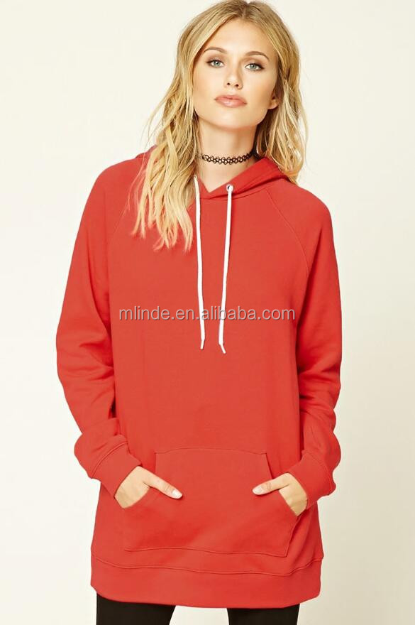 Oversized Sweatshirt Wholesale OEM Cotton Raglan Tunic Hoodie Longline Crew Neck Sweatshirt With Kangaroo Pockets