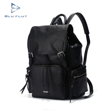 100% Genuine Leather Travel Black Branded Backpacks For High School ... 741849e4f3330