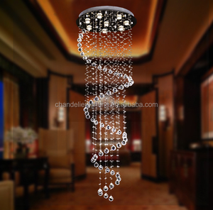 Modern contracted style crystal suspender lamp revolving stair crystal pendant lamp for project/hotel decoration