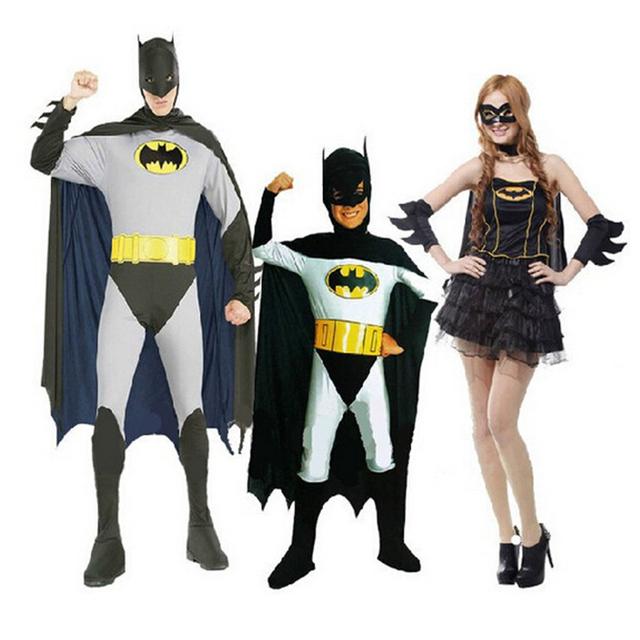 halloween costume party clothing batman costume adult men women kids batman partner fancy dress. Black Bedroom Furniture Sets. Home Design Ideas