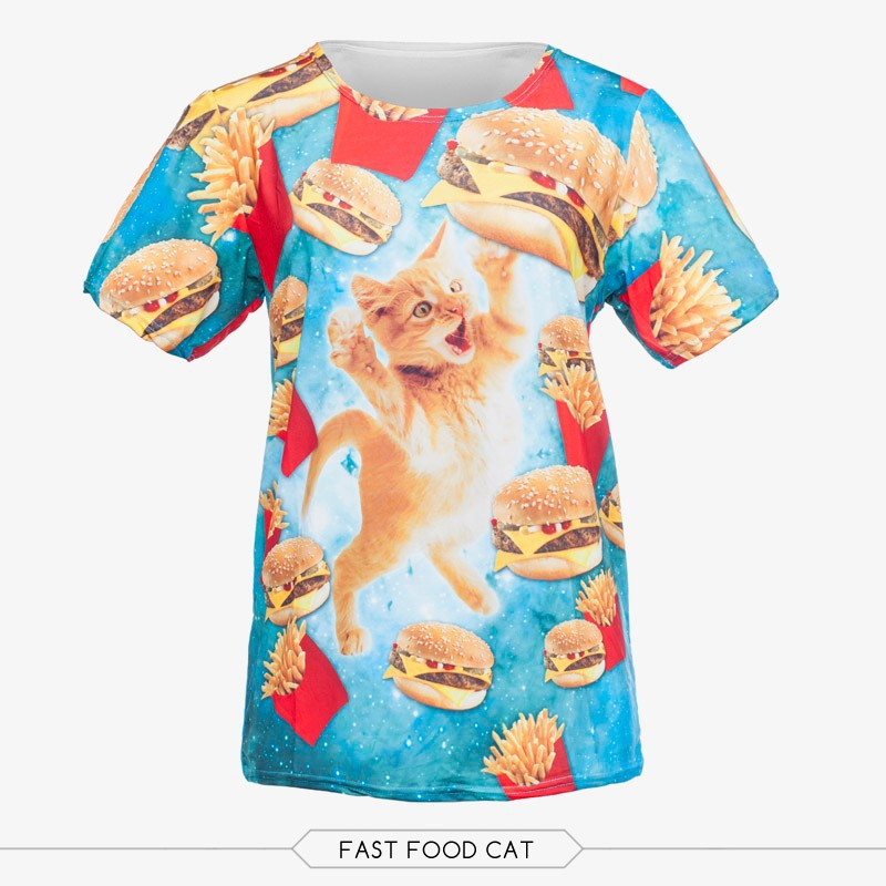 wholesale polyester promotional 3d digital print unisex cat and fast food t shirt design