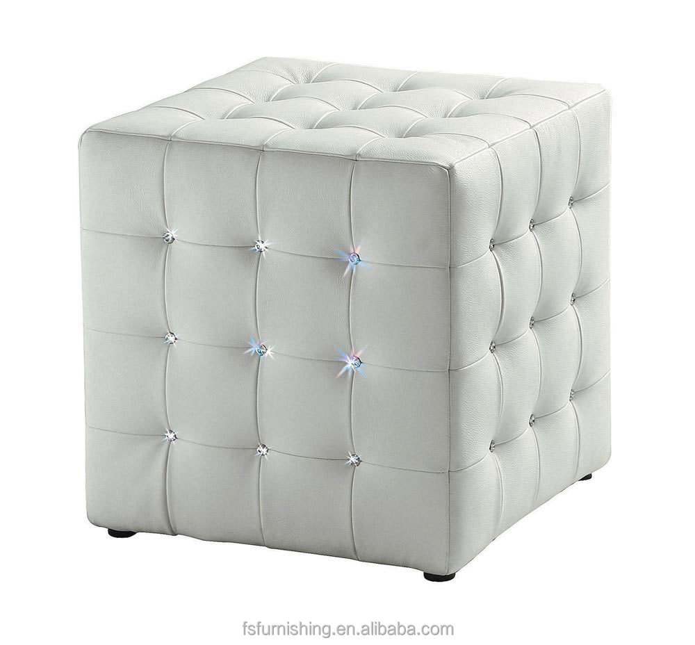 Jr 04 Modern Contemporary White Color Genuine Leather Crystal Tufted