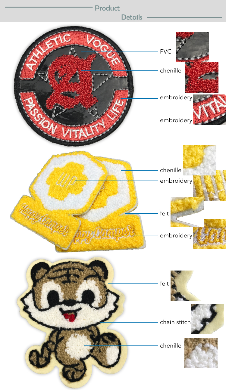 Professional embroidery patch supplier No minimum custom chenille patches