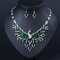 New style creative design animal colorful zircon jewelry set peacock pendant necklace earring set